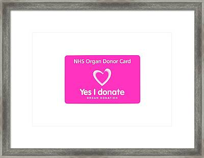 Organ Donor Card Framed Print by Cordelia Molloy