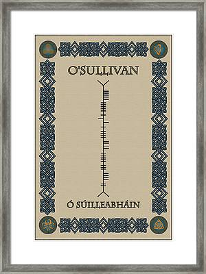 Framed Print featuring the digital art O'sullivan Written In Ogham by Ireland Calling