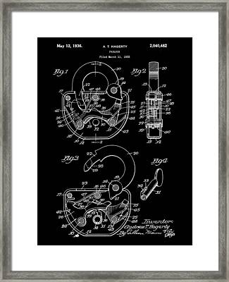 Padlock Patent 1935 - Black Framed Print by Stephen Younts