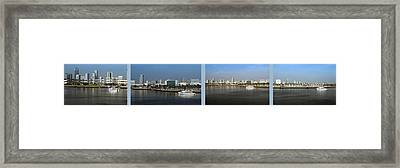 4 Panel Shoreline Long Beach Ca Framed Print by Thomas Woolworth