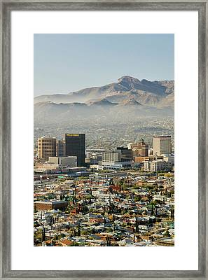 Panoramic View Of Skyline And Downtown Framed Print