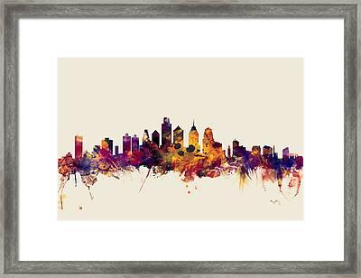 Philadelphia Pennsylvania Skyline Framed Print by Michael Tompsett