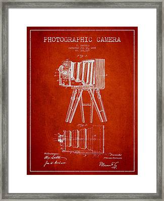 Photographic Camera Patent Drawing From 1885 Framed Print