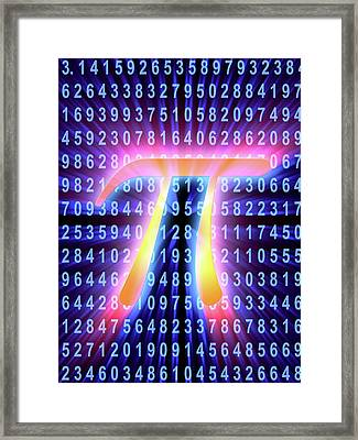 Pi Symbol And Number Framed Print