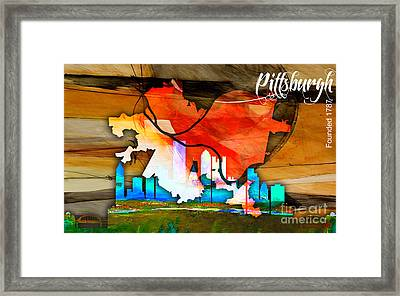 Pittsburgh Map And Skyline Watercolor Framed Print by Marvin Blaine