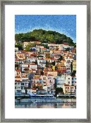 Plomari Town Framed Print