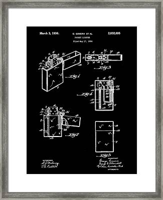 Pocket Lighter Patent 1934 - Black Framed Print by Stephen Younts
