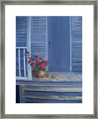 Porch Flowers Framed Print by Glenda Barrett