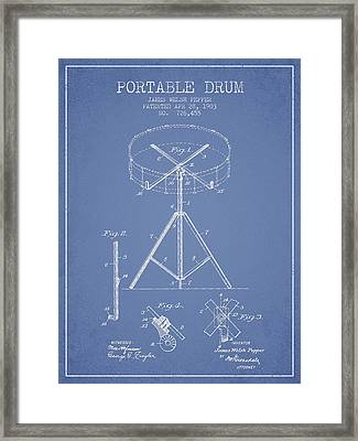Portable Drum Patent Drawing From 1903 - Light Blue Framed Print by Aged Pixel