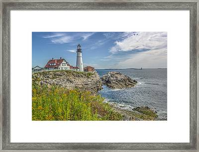 Framed Print featuring the photograph Portland Headlight by Jane Luxton