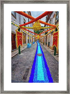 Portugal, Streets Of Tomar Decorated Framed Print by Terry Eggers