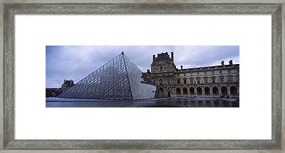Pyramid In Front Of A Museum, Louvre Framed Print