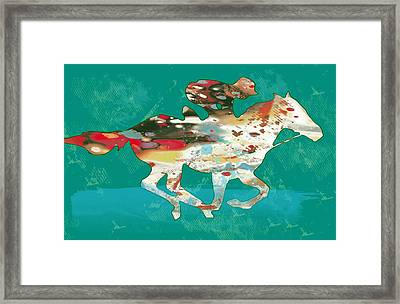 Racing Horse Stylised Pop Art Drawing Potrait Poser Framed Print by Kim Wang
