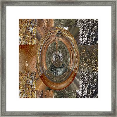 Rareearth Rare Earth Stones Minerals Microphotography Micro Photography Tiled Square Silver Chrome B Framed Print