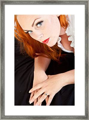 Red Hair Girl In Pin-up Style Portrait Shot In Studio Framed Print