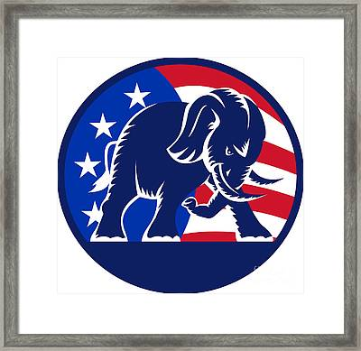 Republican Elephant Mascot Usa Flag Framed Print