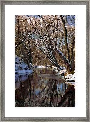 River In Winter Framed Print by Pat Now