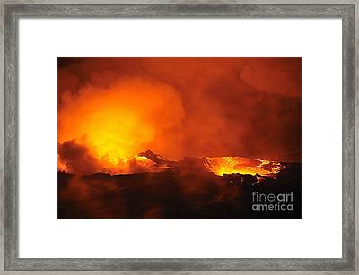 River Of Molten Lava Flowing To The Sea Framed Print by Sami Sarkis