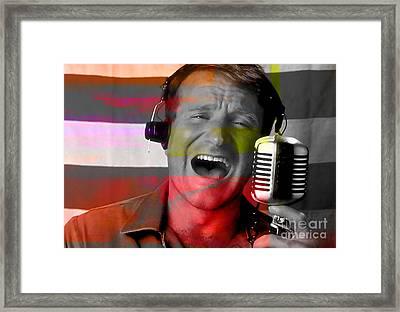 Robin Williams Good Morning Vietnam Framed Print by Marvin Blaine