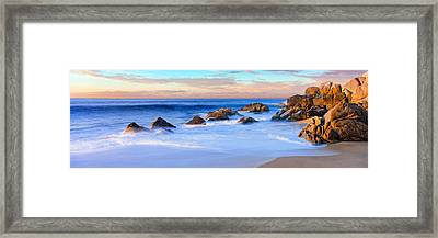 Rock Formations On The Beach Framed Print