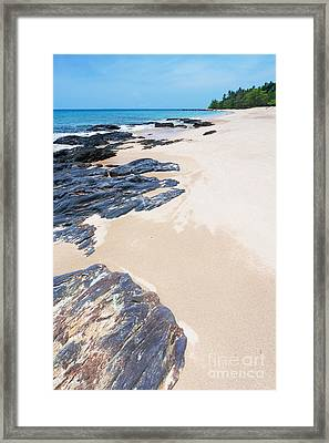 Rock Sand Sea And Sky Framed Print