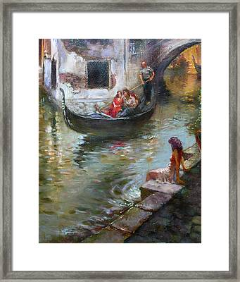 Romance In Venice  Framed Print by Ylli Haruni