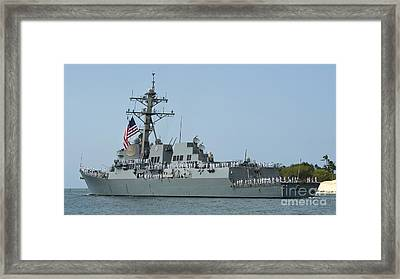 Sailors Man The Rails Aboard Framed Print by Stocktrek Images