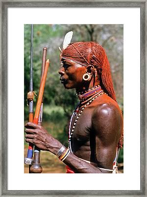 Samburu Warrior Framed Print by Michele Burgess