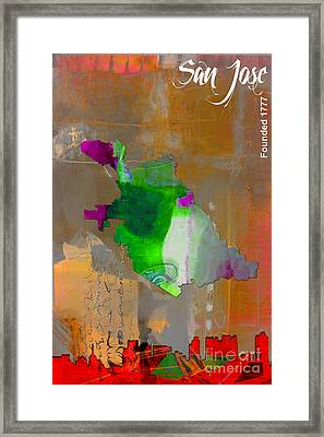San Jose Map And Skyline Framed Print by Marvin Blaine