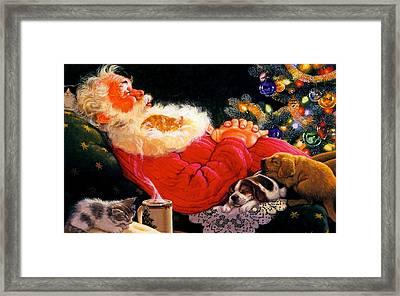 Sleeping Santa Claus Framed Print by Doc Braham
