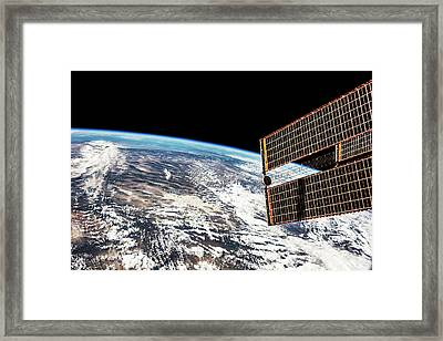Satellite View Of Planet Earth Showing Framed Print
