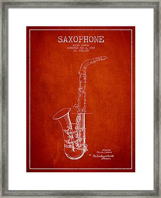Saxophone Patent Drawing From 1937 - Red Framed Print