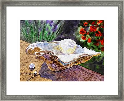 Sea Shell And Pearls Morning Light Framed Print by Irina Sztukowski