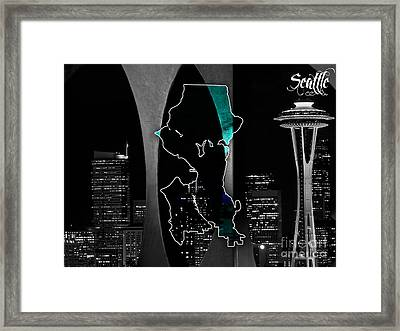 Seattle Map And Skyline Watercolor Framed Print