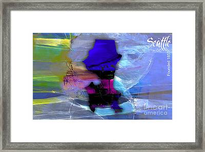 Seattle Map Watercolor Framed Print by Marvin Blaine
