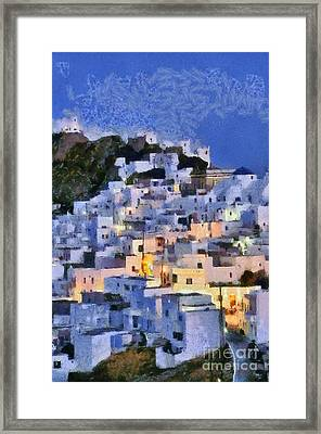 Serifos Town During Dusk Time Framed Print