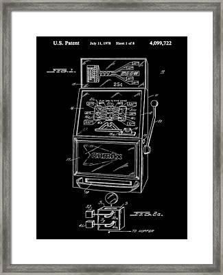Slot Machine Patent 1978 - Black Framed Print by Stephen Younts