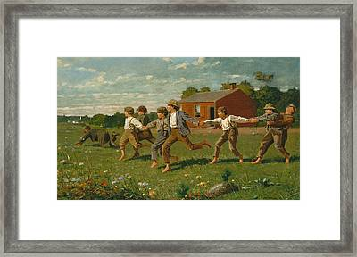 Snap The Whip Framed Print by Winslow Homer