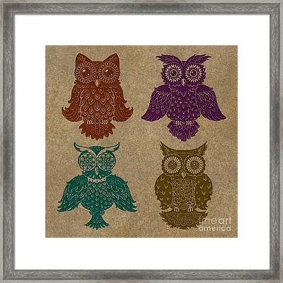 4 Sophisticated Owls Colored Framed Print by Kyle Wood