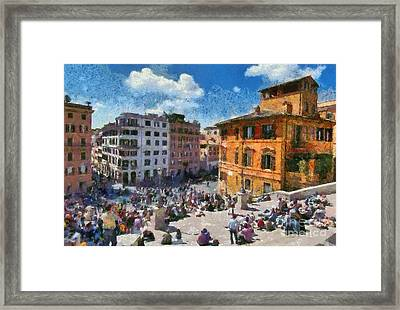 Spanish Steps At Piazza Di Spagna Framed Print by George Atsametakis