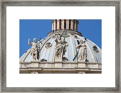 St Peter Dome In Vatican Framed Print by George Atsametakis