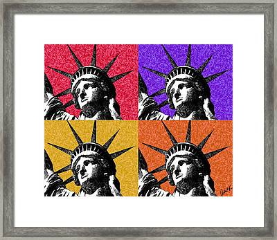 4 Starry Night Statue Of Liberty Print Framed Print