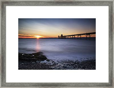 Stunning Landscape Image Of Old Pier Silhouette Against Vibrant  Framed Print by Matthew Gibson