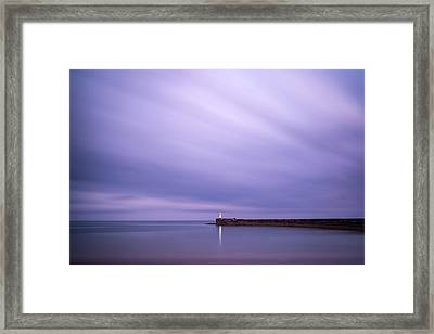Stunning Long Exposure Landscape Lighthouse At Sunset With Calm  Framed Print by Matthew Gibson