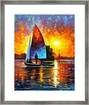 Sunset By The Lake Framed Print by Leonid Afremov