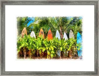 Surf Board Fence Maui Hawaii Framed Print by Edward Fielding