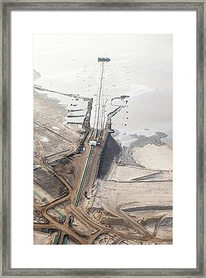 Tailings Pond At Syncrude Mine Framed Print by Ashley Cooper