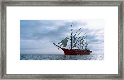 Tall Ship Regatta In The Baie De Framed Print