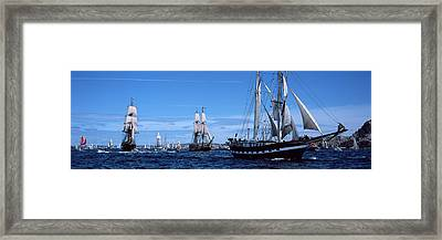 Tall Ships Race In The Ocean, Baie De Framed Print