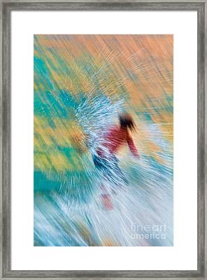 Teenage Boy Skimboarding On Maui Hawaii Framed Print by Don Landwehrle